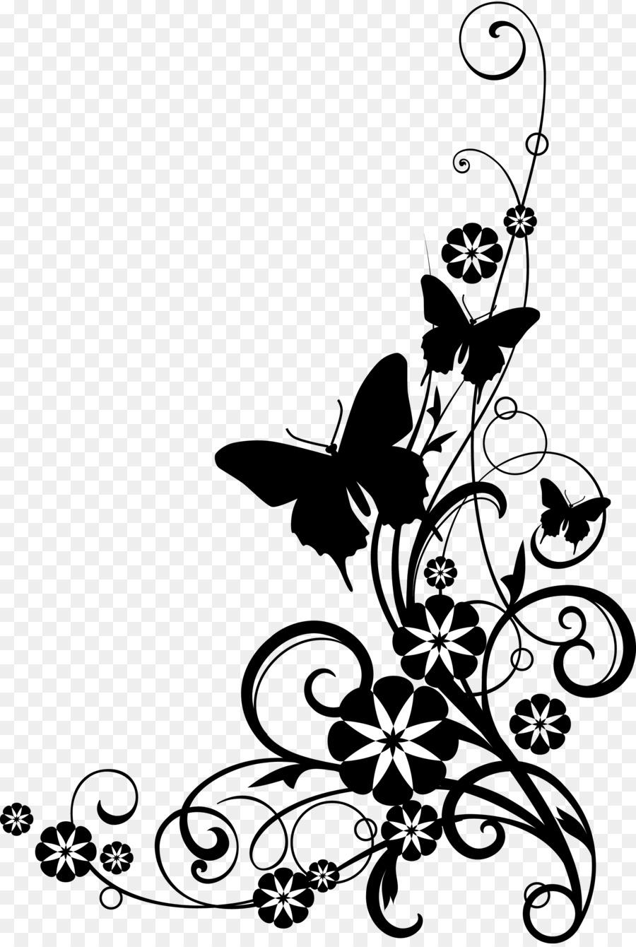 Bunga Hitam Dan Putih Putih Gambar Png