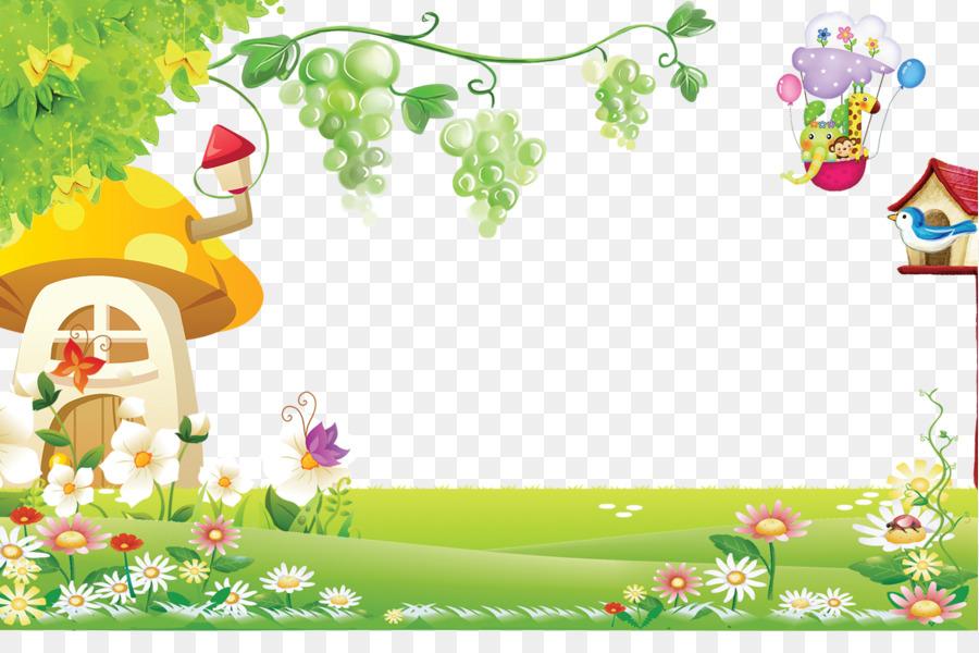 Poster Kartun Desain Bunga Gambar Png