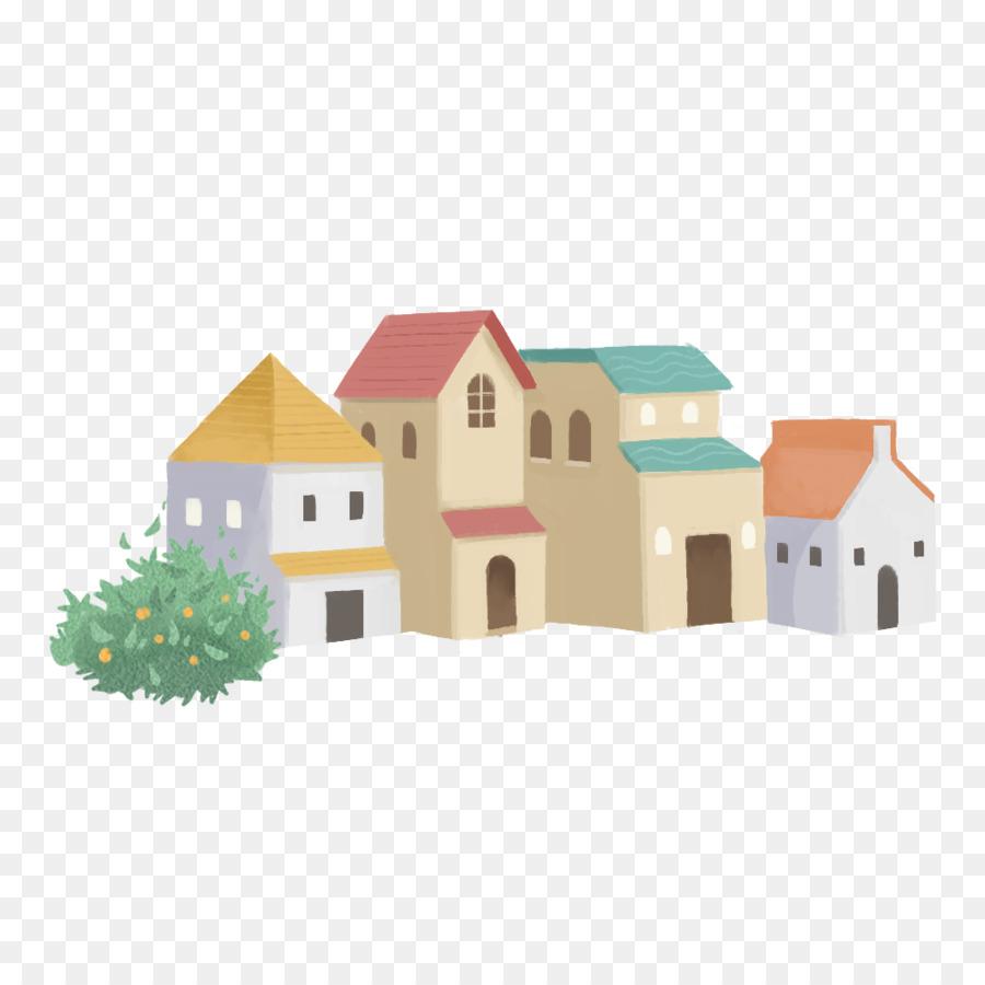 Kartun Mewarnai Rumah Rumah Gambar Png