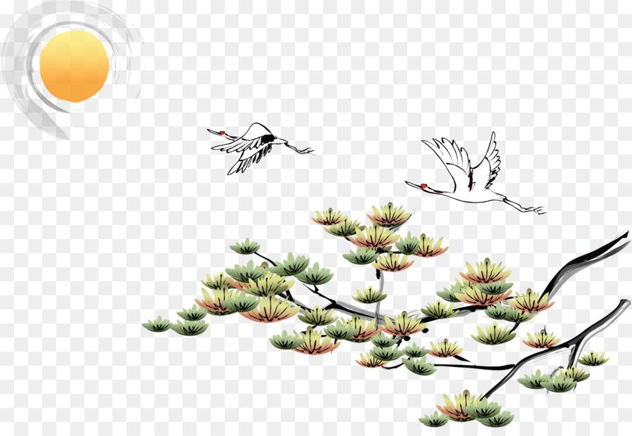Tinta Mencuci Lukisan Chinoiserie Desktop Wallpaper Gambar Png