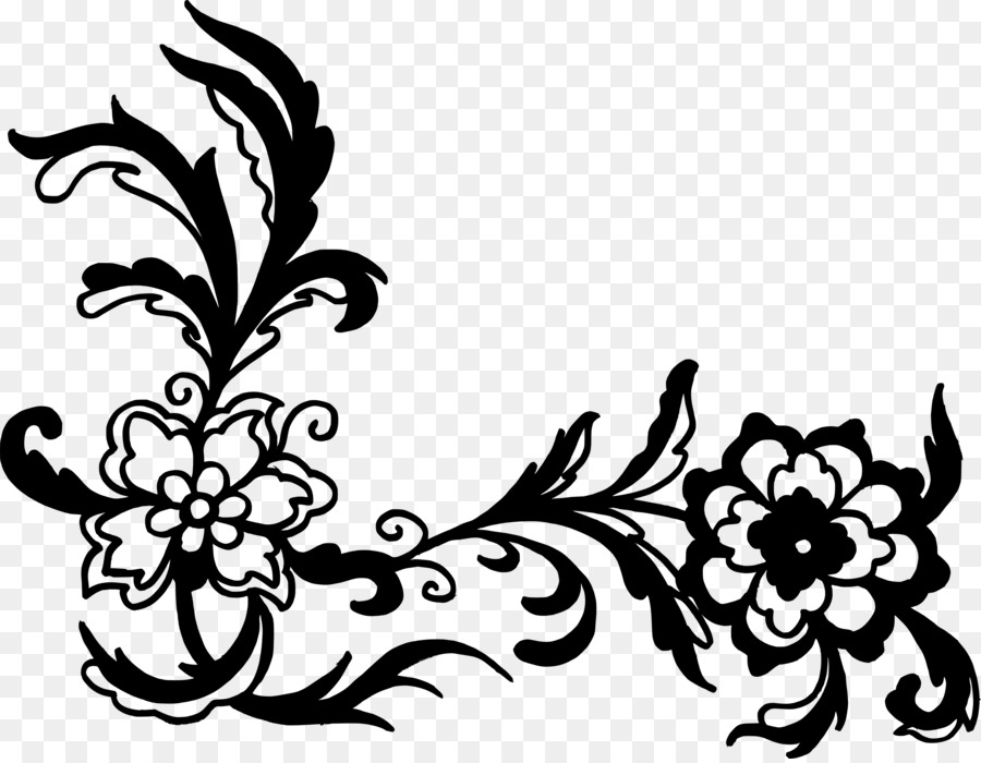 Bunga Hitam Dan Putih Ornamen Gambar Png