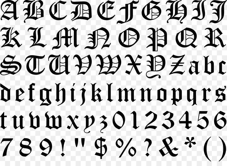Blackletter Huruf Gothic Alfabet Gambar Png