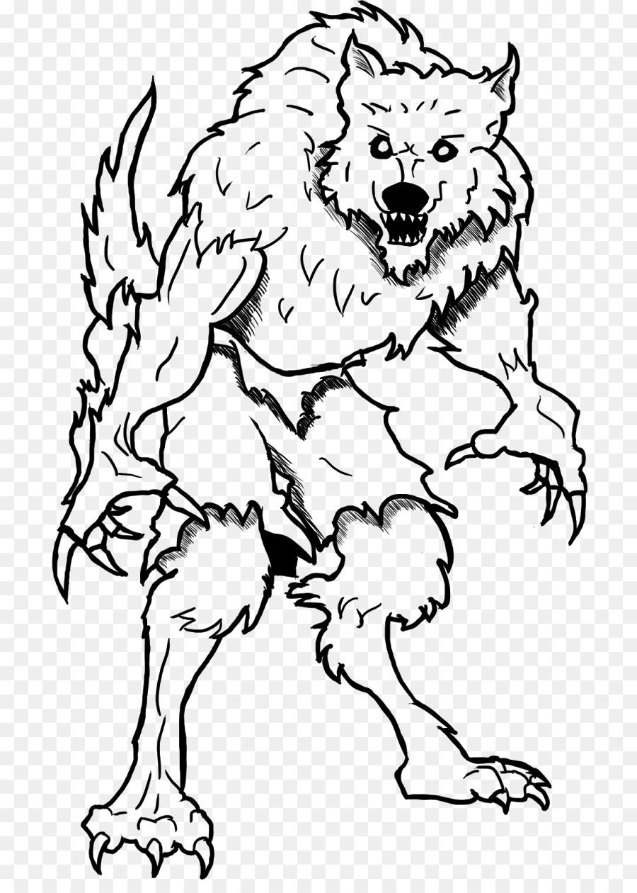 Werewolf Buku Mewarnai Dewasa Gambar Png