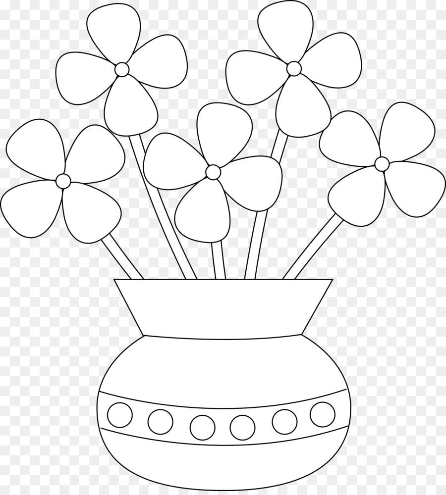 Buku Mewarnai Pot Bunga Warna Gambar Png