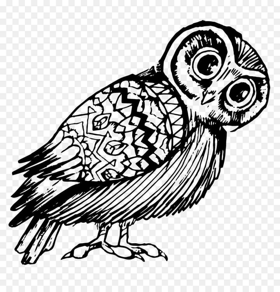 Burung Hantu Garis Seni Desain Grafis Gambar Png