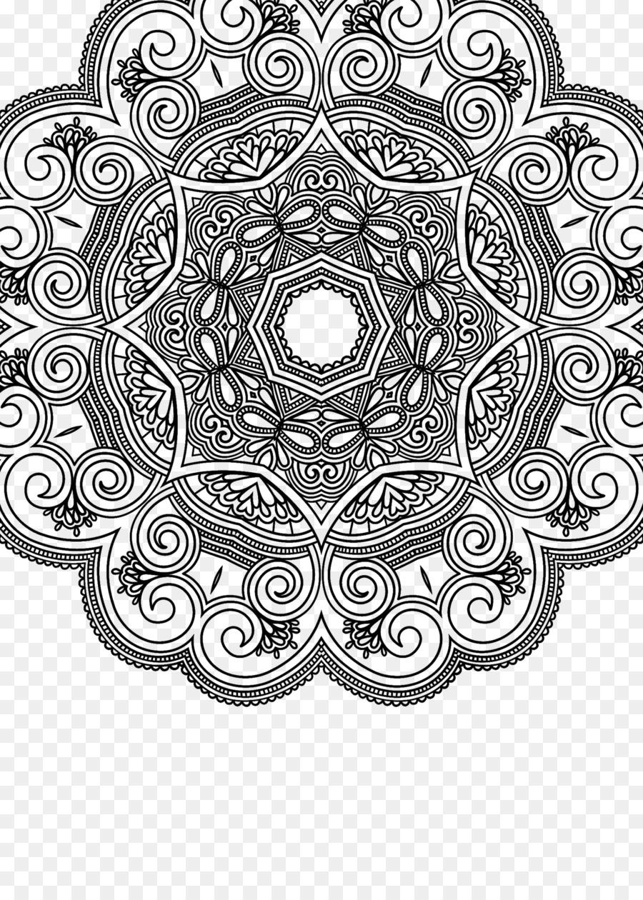 Mandala Buku Mewarnai Ornamen Gambar Png