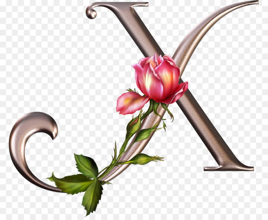 Desain Bunga Surat Alfabet Gambar Png