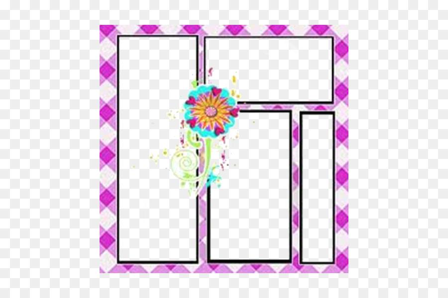 Bingkai Foto, Desain Bunga, Pink M gambar png