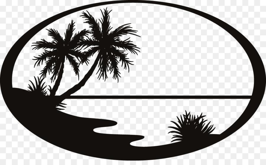 Siluet Pantai Stiker Gambar Png