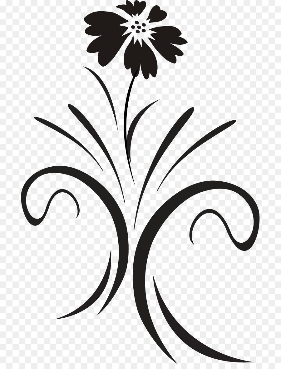 Desain Bunga Hitam Dan Putih Tanaman Hias Gambar Png