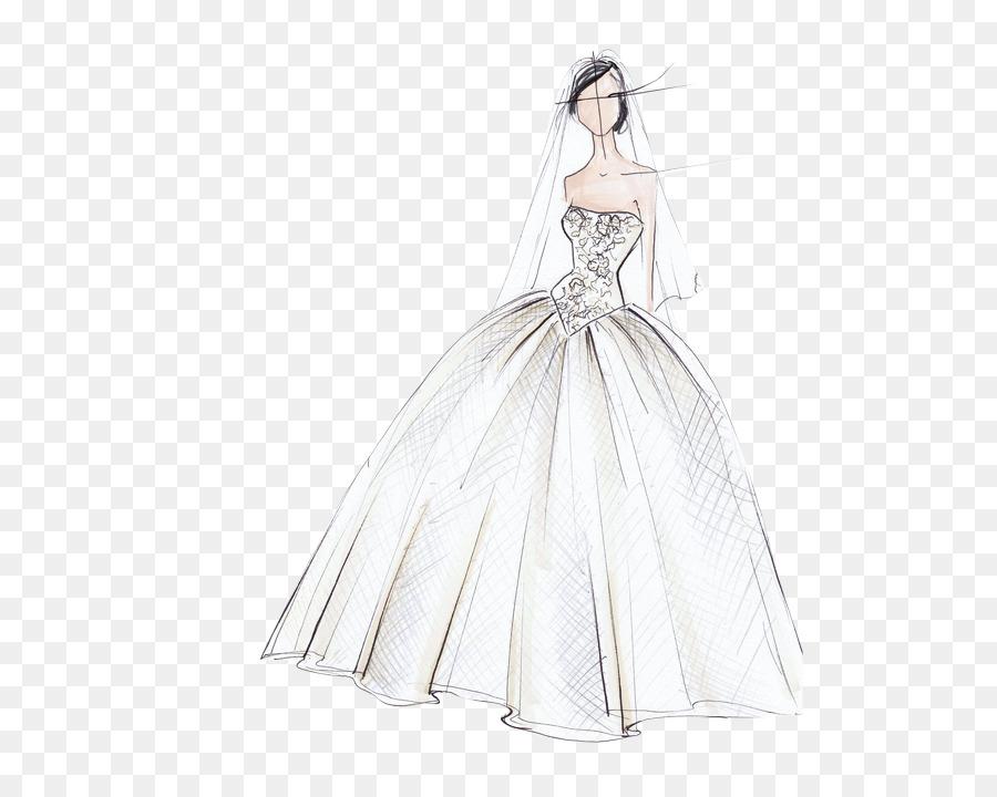 Gaun Pengantin Busana Ilustrasi Desainer Gambar Png