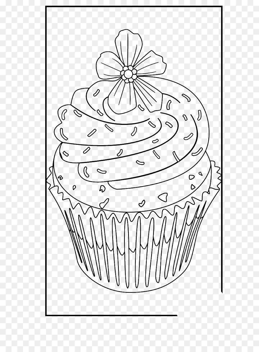 Cupcake Buku Mewarnai Halaman Mewarnai Gambar Png