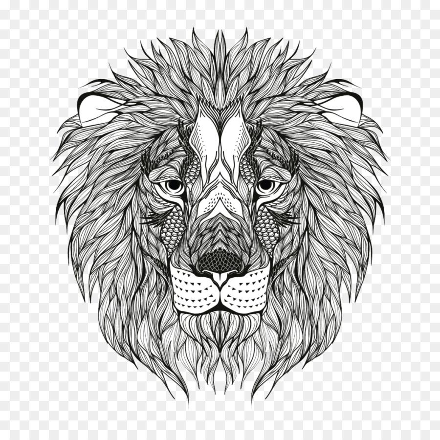 Singa Buku Mewarnai Dewasa Gambar Png