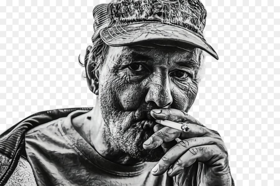Fotografi Hitam Putih Pria Yang Merokok Gambar Png